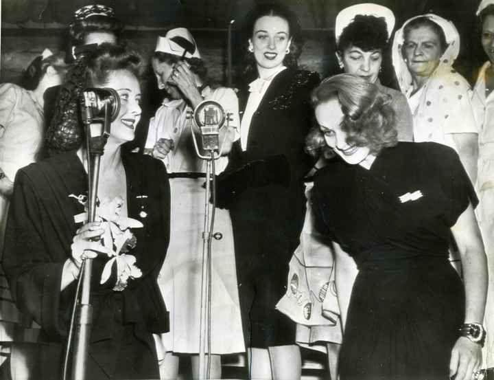 Bette Davis And Marlene Dietrich On Stage During The Hollywood Canteens First Birthday 720px 553px NSF