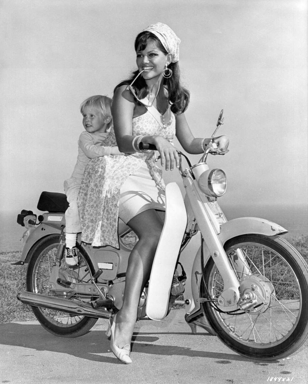 Claudia Cardinale Posing On A Motorbike With Her Son In Italy C 1957 NSF