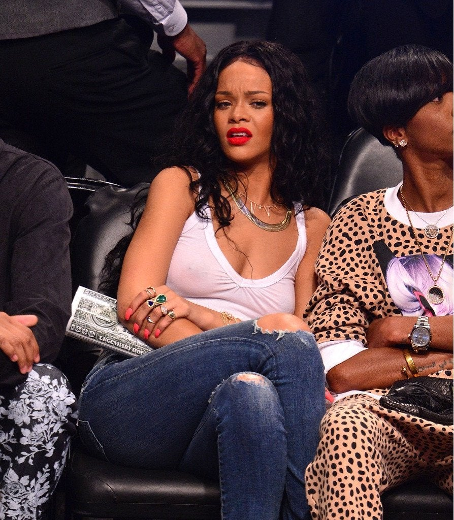Rihanna Not Wearing A Bra Court Side At The Basketball NSFW