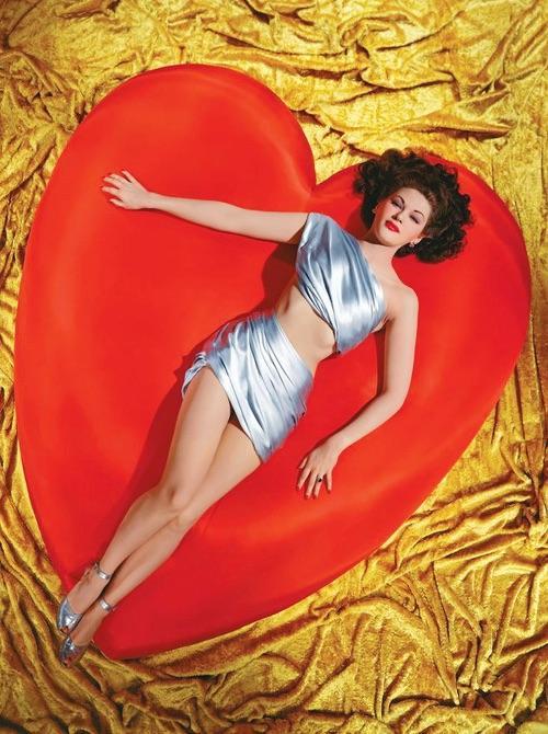 Yvonne De Carlo Lying On A Giant Red Heart Circa 1950 NSF